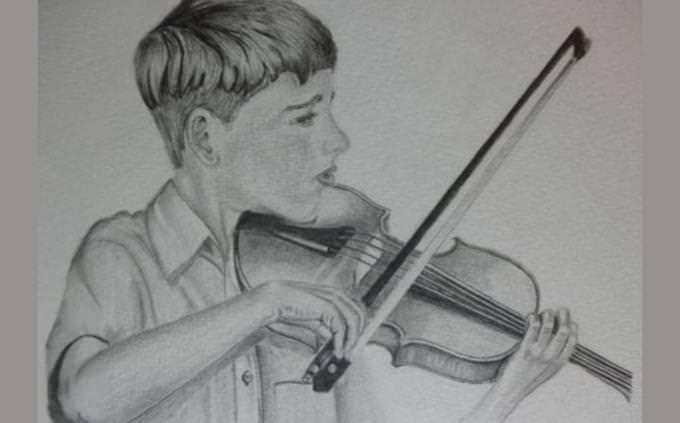 מבחן ניתוח מצבים: ציור של ילד מנגן בכינור