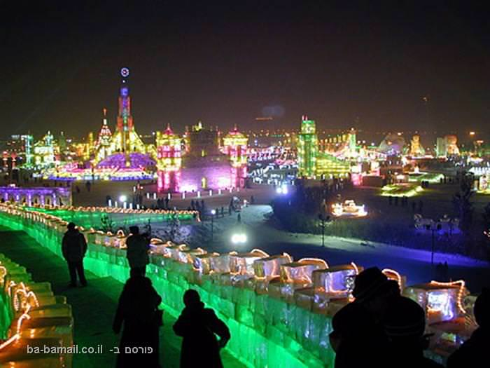 פסטיבל, קרח, סין, חרבין, פיסול, אמנות, פסטיבל הקרח, לילה, ניאון