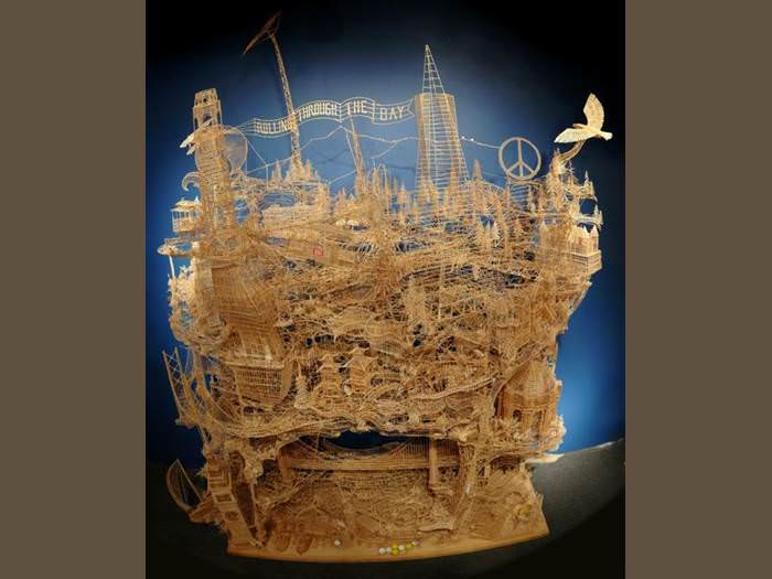 תחי הסבלנות: הכין פסל ממאה אלף קיסמים