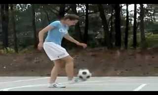 אחותו של מסי - איזו שליטה בכדור!!