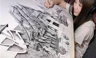 הציורים המפורטים להפליא של אמי נקג'ימה