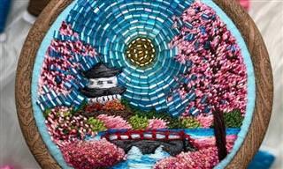 15 יצירות מדהימות ומיוחדות שמשלבות בין רקמה לחרוזים ומתעדות את הטבע
