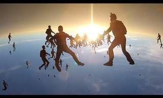 שיא עולם - 138 אנשים בצניחה אנכית