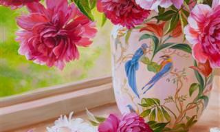 17 ציורי פרחים עדינים ומקסימים של האומנית אירה וולקובה