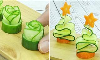 איך לעצב קישוטי ירקות מגזרים ומלפפונים