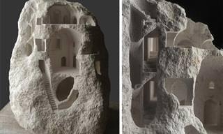 18 פסלים של מבנים עתיקים שנחצבו באבן