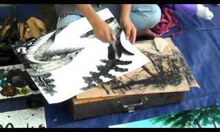 לצייר בעזרת סכין - מדהים!