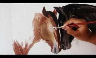 ציור סוסים בהילוך גבוה