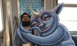 18 איורים יצירתיים של מפלצות לצד אנשים ברכבת