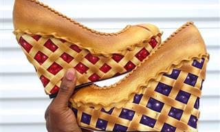 15 מיצירותיו של האמן שמכין עוגות וקינוחים על גבי נעלי עקב