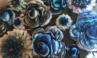 14 תמונות של זרי ענק ויצירות נהדרות של פרחי נייר צבעוניים