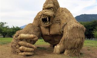 צפו בפסלי הקש מפסטיבל ווארה ארט ביפן