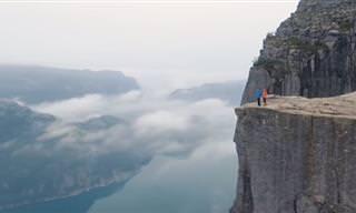 סרטון מסע אווירי מעל לפיורדים של נורווגיה