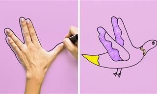 10 יצירות אומנותיות לילדים באמצעות כפות הידיים