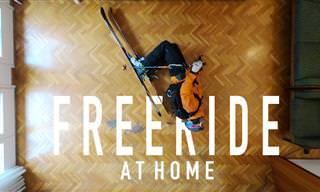 למרות שהוא בסגר, הבחור היצירתי הזה מצא דרך לצאת לחופשת סקי