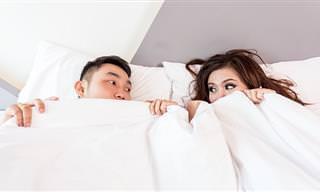 בדיחה שובבה על גבר ואישה במיטה
