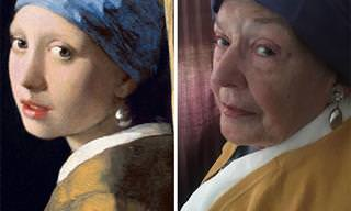 אישה בת 83 מככבת בשחזורים משעשעים ליצירות מפורסמות