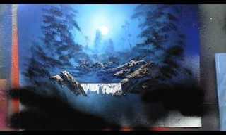 מפל לאור ירח - ציור מדהים בספריי