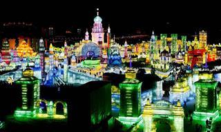 תמונות מרהיבות מפסטיבל הקרח הגדול בעולם שנערך בסין