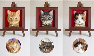 17 דיוקנאות תלת-ממד של חתולים