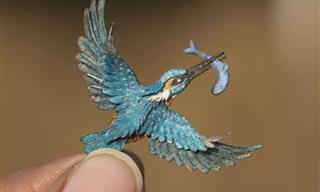 28 ציפורים מיניאטוריות מקסימות מחיתוכי נייר