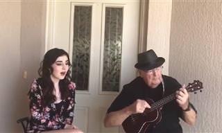 """סבא ונכדה מנגנים ושרים יחדיו את השיר """"שם מעבר לקשת"""""""