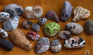 17 תמונות של ציורי חיות על אבנים פשוטות שיצרה האמנית אקי נקאטה