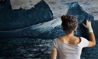האמנית הזו מציירת נוף מרהיב עם האצבעות בלבד