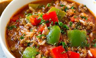 מתכון מפנק ומחמם במיוחד למרק עם אורז, פלפלים ובשר