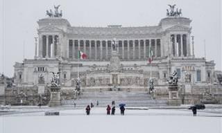 אירוע נדיר: 16 תמונות של רומא מכוסה בשלג