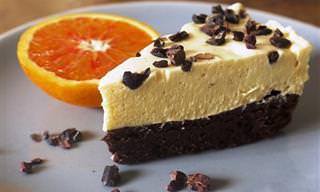 עוגה נפלאה של מוס תפוזים על בסיס שוקולד