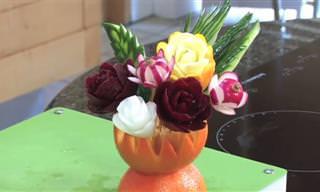 קישוט דקורטיבי באמצעות ירקות ופירות