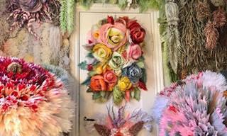 17 תמונות של פרחי ענק ויצירות אמנות נוספות שעשויות מנייר טישו