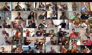 """התזמורת הלאומית של צרפת מנגנת את """"בולרו"""" בזמן הקורונה"""