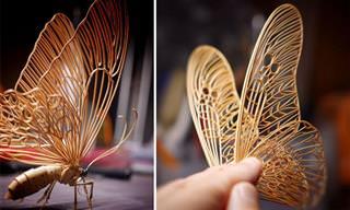 האמן הזה יוצר פסלי חרקים קטנים ומרהיבים מבמבוק!