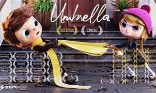 סרטון אנימציה מרגש על ילד שרצה מטריה צהובה