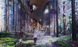15 מציוריו ססגוניים של האמן ג'ייקוב ברוסטרופ המשלבים בין טבע לבין ערים ובתים