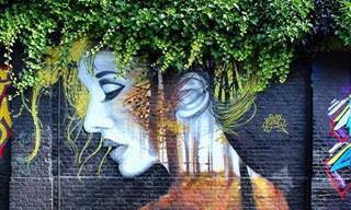 ציורי רחוב נפלאים שמשלבים עצים ופרחים