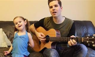 ביצוע חמוד של אבא ובת לשיר I'm A Believer