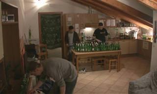 3 חברים שמנגנים על לא פחות מ-101 בקבוקי בירה ריקים