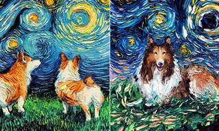 אוסף ציורי כלבים מקסימים בסגנון של הצייר המפורסם ואן גוך