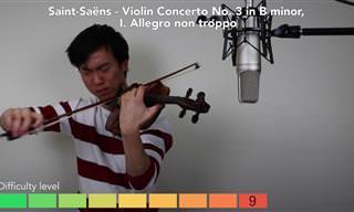 צמד נגני כינור בתחרות נגינה עם רמת קושי עולה