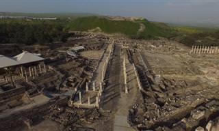 סקיתופוליס - בית שאן הרומית בצילום רחפן