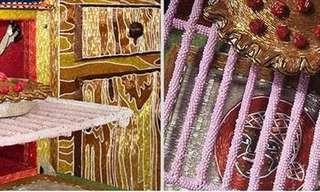אמנית יוצרת באמצעות מליוני חרוזים