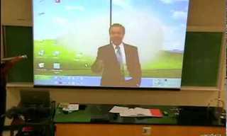 סרטון מצחיק של מורה שעושה טריק בשיעור