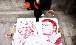 ציור באמצעות כדורסל - מדהים!