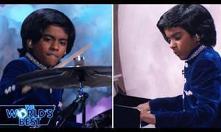 מופע של ילד הודי בן 12 עם יכולות מוזיקליות מדהימות