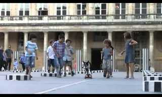 כלב רוכב על סקייטבורד ברחבי פריז!