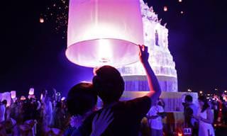 """תיעוד יפהפה מפסטיבל הפנסים הפורחים """"יי פנג"""" בתאילנד"""