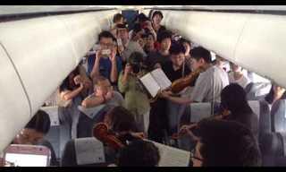 תזמורת מנגנת על מטוס